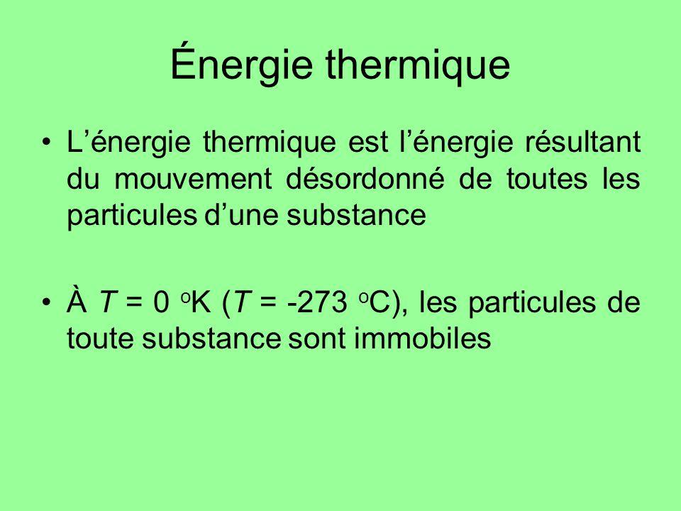 Énergie thermique L'énergie thermique est l'énergie résultant du mouvement désordonné de toutes les particules d'une substance.