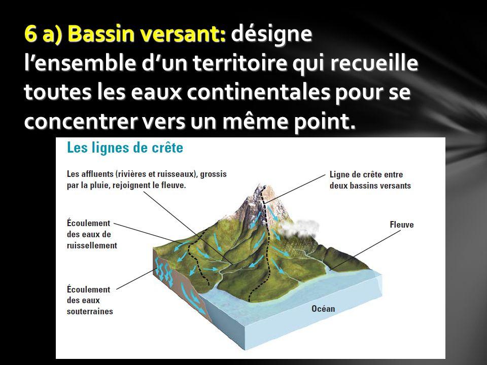 6 a) Bassin versant: désigne l'ensemble d'un territoire qui recueille toutes les eaux continentales pour se concentrer vers un même point.