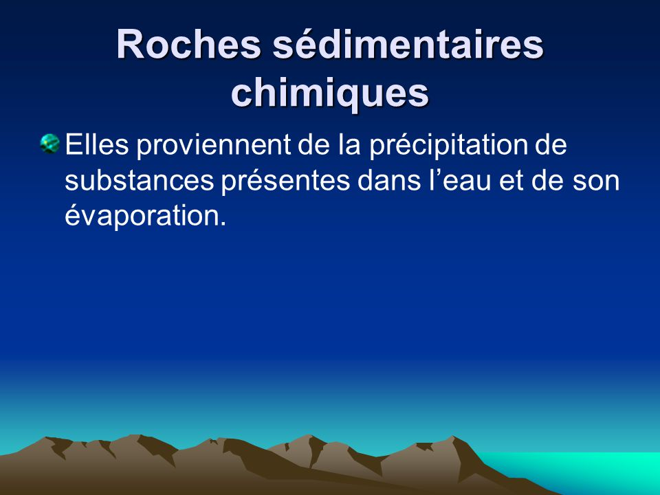 Roches sédimentaires chimiques
