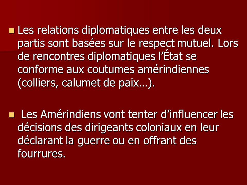 Les relations diplomatiques entre les deux partis sont basées sur le respect mutuel. Lors de rencontres diplomatiques l'État se conforme aux coutumes amérindiennes (colliers, calumet de paix…).