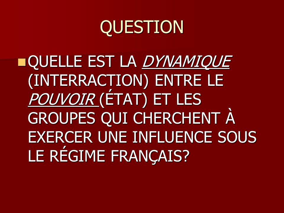 QUESTION QUELLE EST LA DYNAMIQUE (INTERRACTION) ENTRE LE POUVOIR (ÉTAT) ET LES GROUPES QUI CHERCHENT À EXERCER UNE INFLUENCE SOUS LE RÉGIME FRANÇAIS