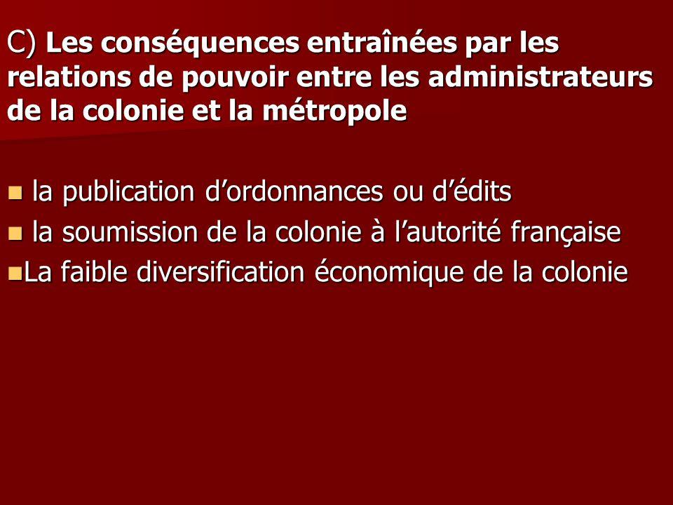 C) Les conséquences entraînées par les relations de pouvoir entre les administrateurs de la colonie et la métropole