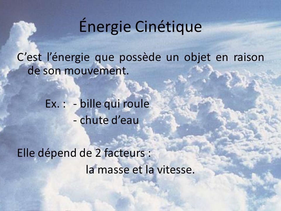 Énergie Cinétique C'est l'énergie que possède un objet en raison de son mouvement. Ex. : - bille qui roule.