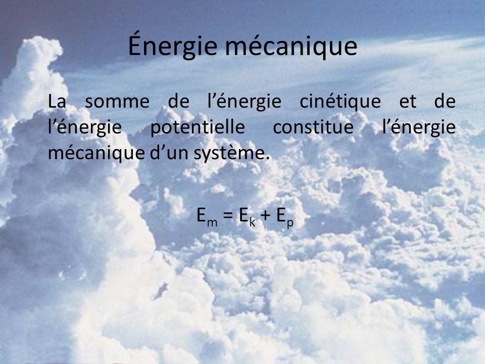 Énergie mécanique La somme de l'énergie cinétique et de l'énergie potentielle constitue l'énergie mécanique d'un système.