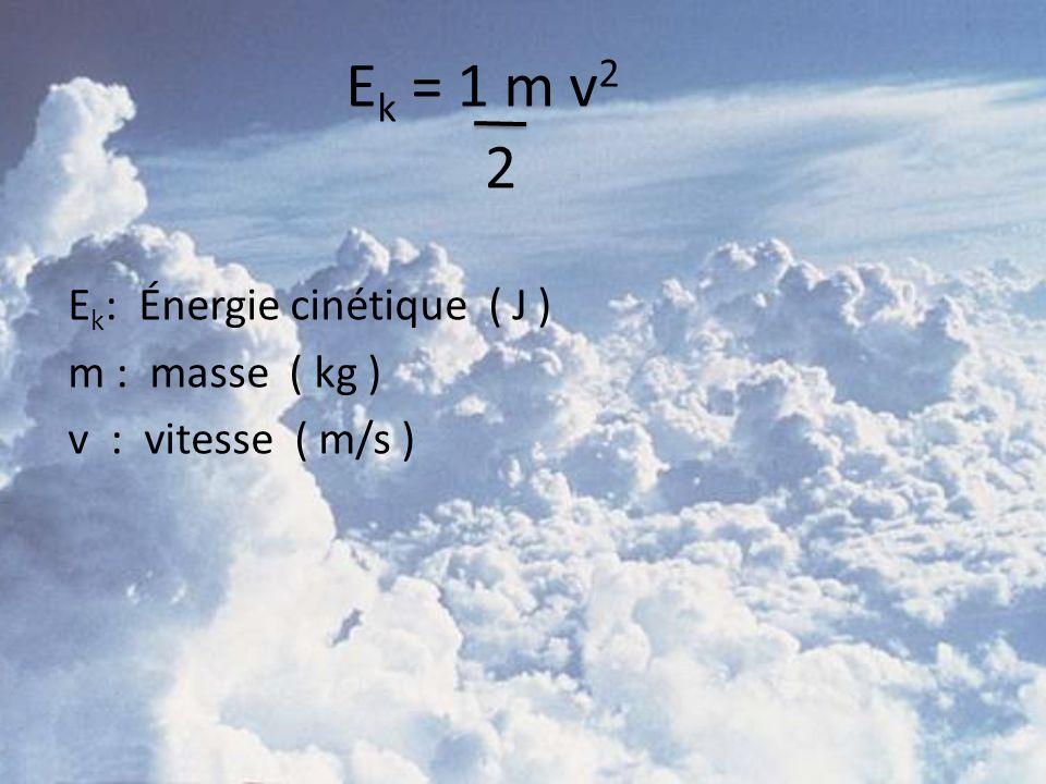 Ek = 1 m v2 2 Ek: Énergie cinétique ( J ) m : masse ( kg ) v : vitesse ( m/s )