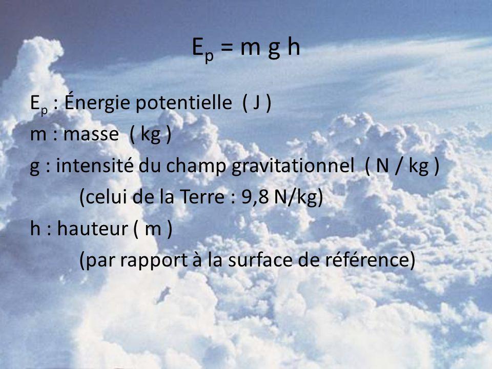 Ep = m g h Ep : Énergie potentielle ( J ) m : masse ( kg )