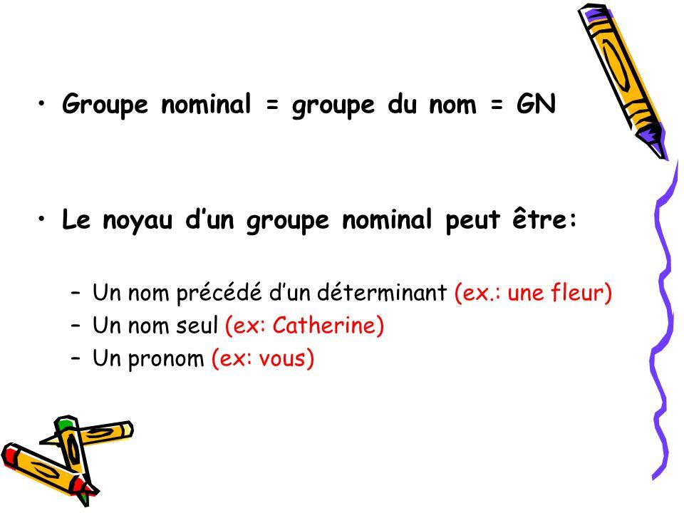 Groupe nominal = groupe du nom = GN