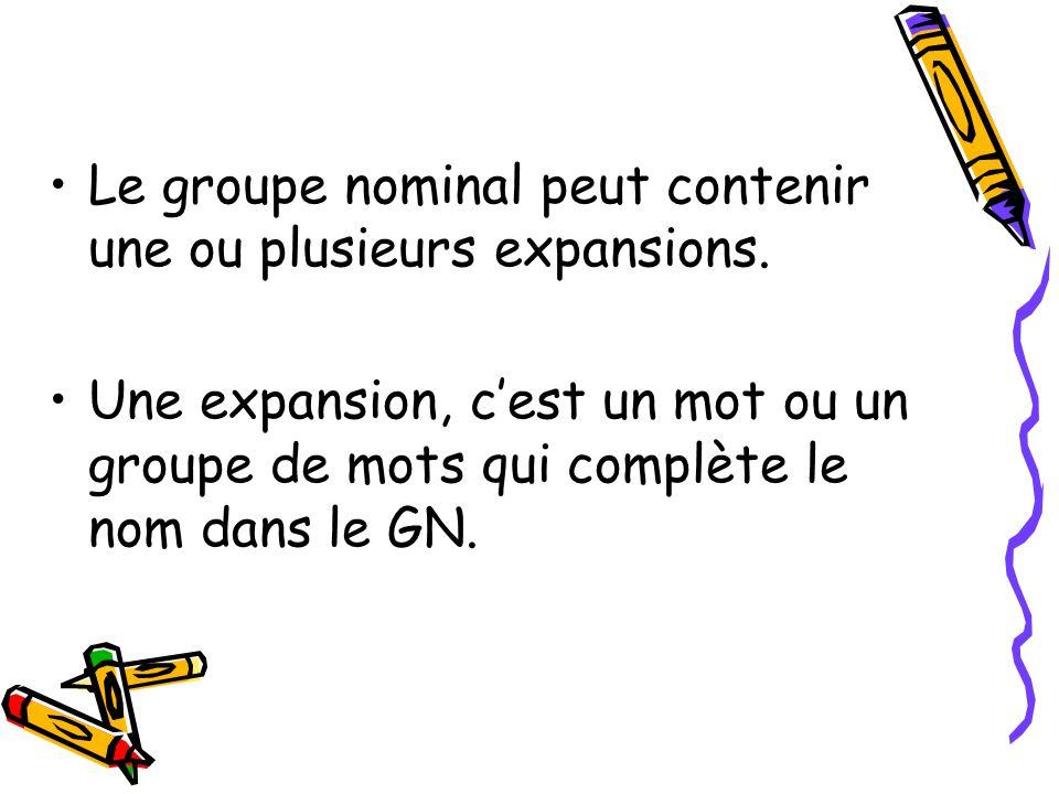 Le groupe nominal peut contenir une ou plusieurs expansions.