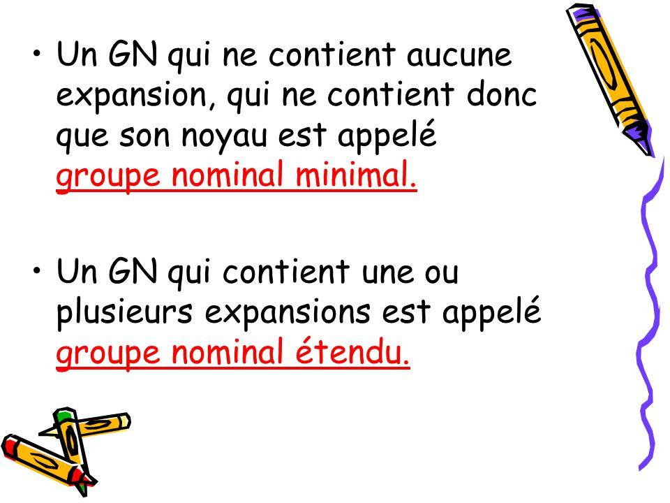 Un GN qui ne contient aucune expansion, qui ne contient donc que son noyau est appelé groupe nominal minimal.