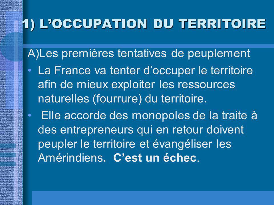 1) L'OCCUPATION DU TERRITOIRE