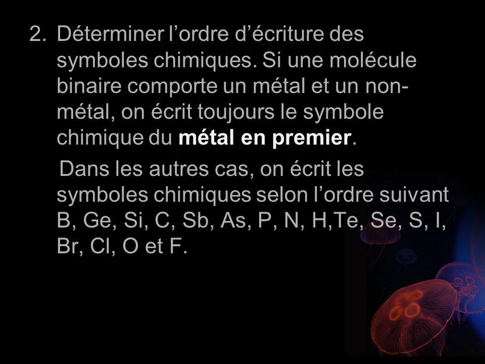 Déterminer l'ordre d'écriture des symboles chimiques