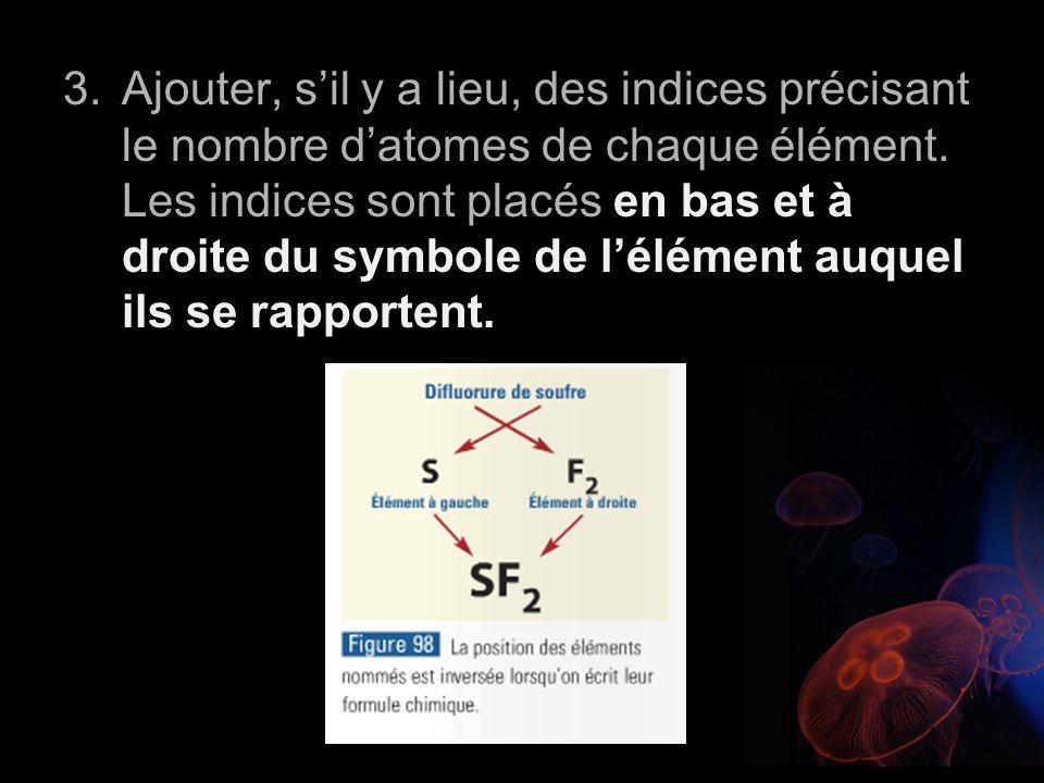 Ajouter, s'il y a lieu, des indices précisant le nombre d'atomes de chaque élément.