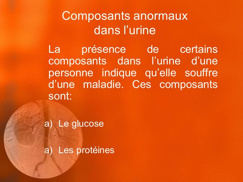 Composants anormaux dans l'urine