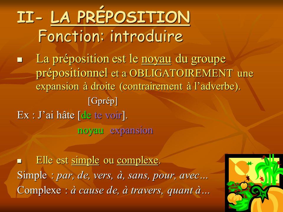 II- LA PRÉPOSITION Fonction: introduire