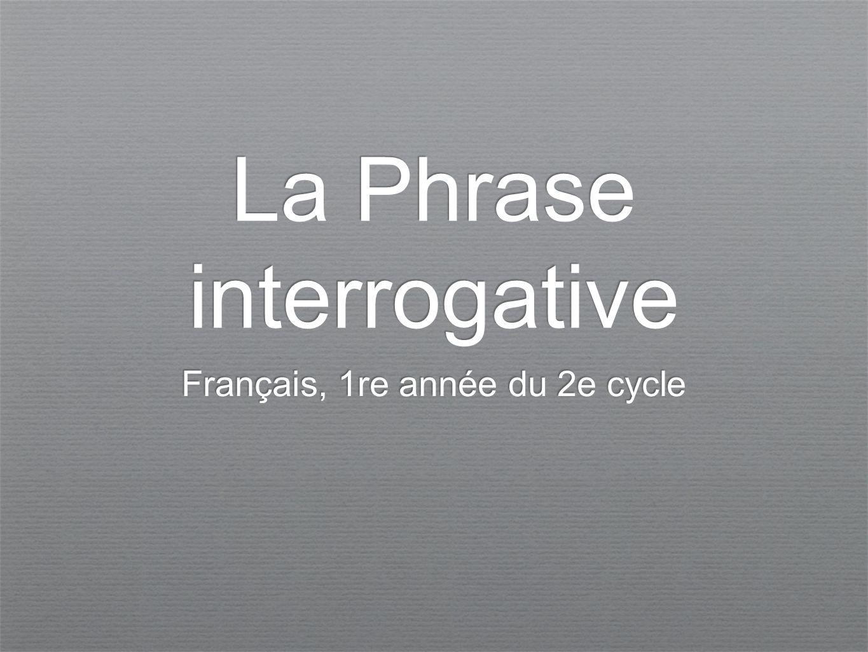 La Phrase interrogative