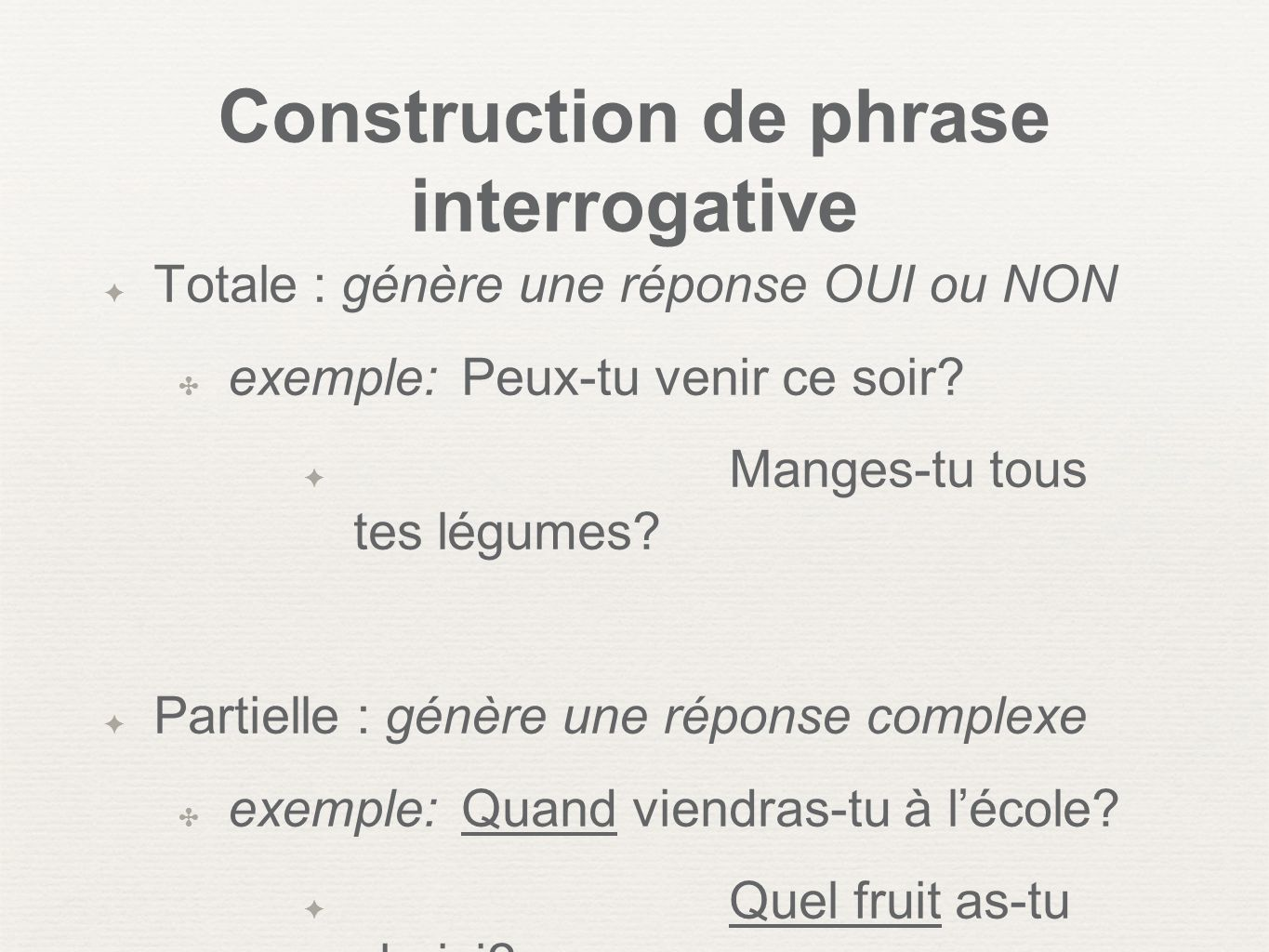 Construction de phrase interrogative