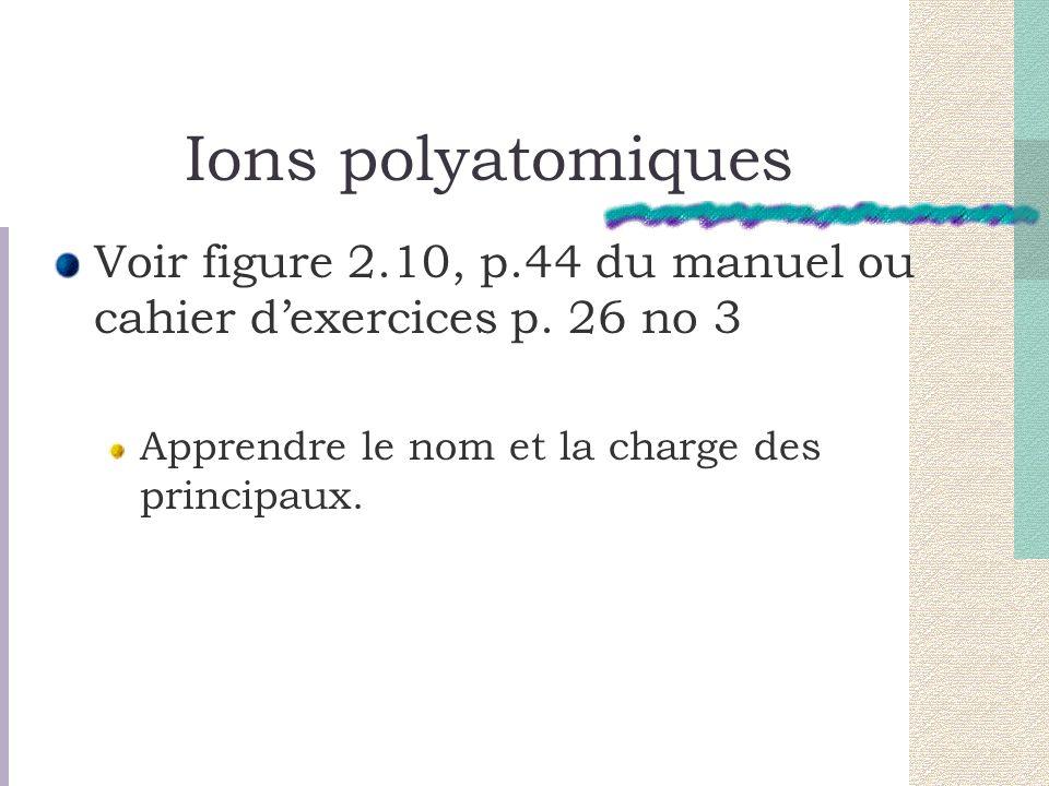 Ions polyatomiques Voir figure 2.10, p.44 du manuel ou cahier d'exercices p.