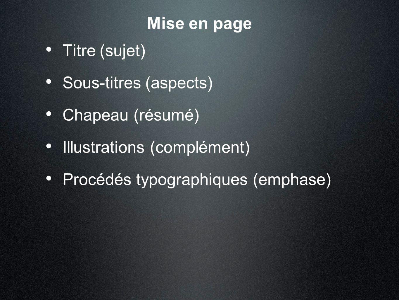 Mise en page Titre (sujet) Sous-titres (aspects) Chapeau (résumé)