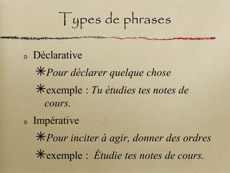 Types de phrases Déclarative Pour déclarer quelque chose
