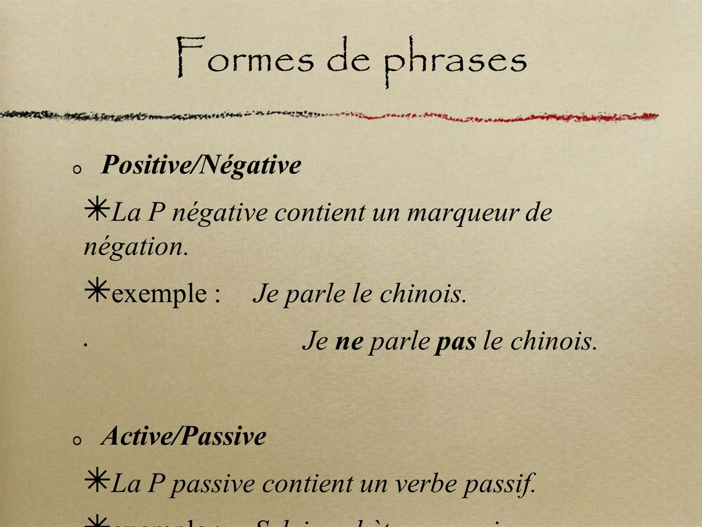 Formes de phrases Positive/Négative