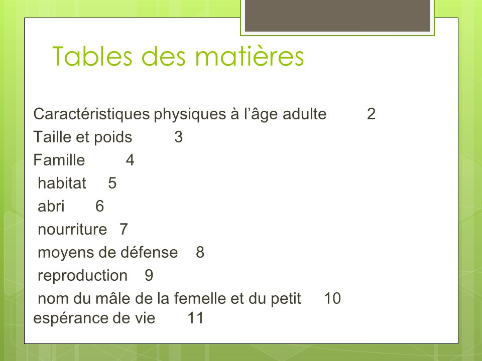 Tables des matières