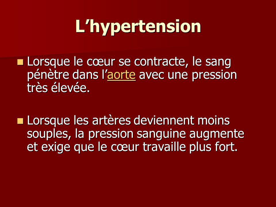 L'hypertension Lorsque le cœur se contracte, le sang pénètre dans l'aorte avec une pression très élevée.