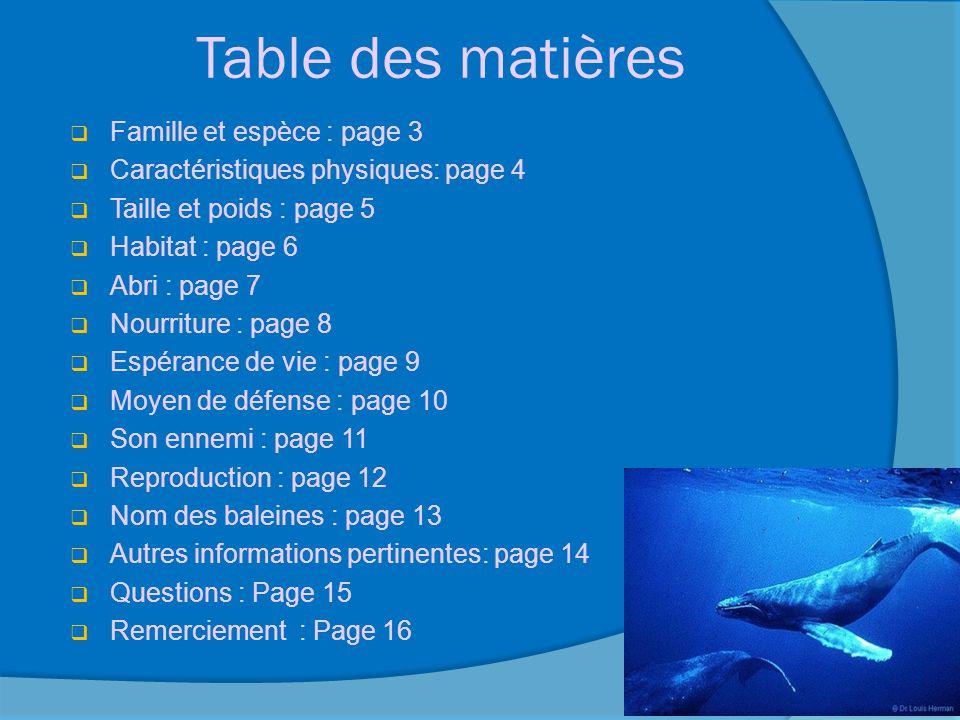 Table des matières Famille et espèce : page 3