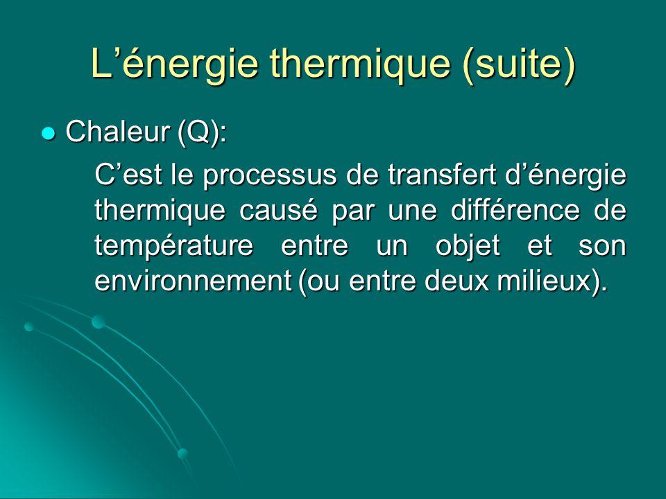 L'énergie thermique (suite)