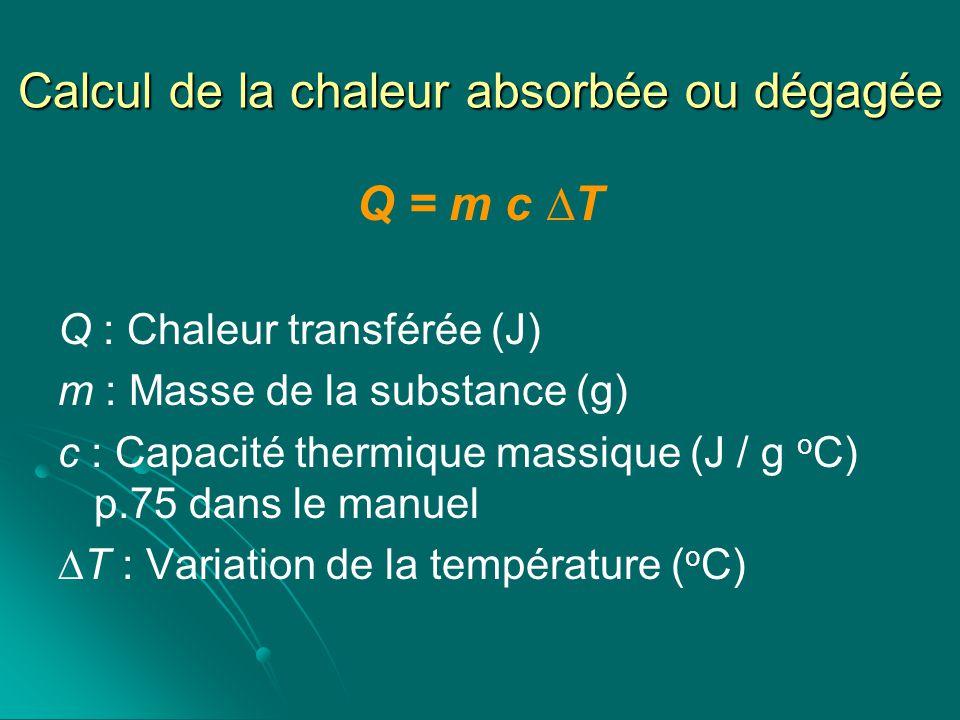 Calcul de la chaleur absorbée ou dégagée