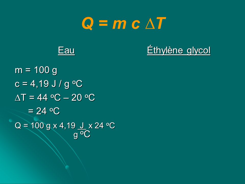 Q = m c ∆T Eau m = 100 g c = 4,19 J / g oC ∆T = 44 oC – 20 oC = 24 oC