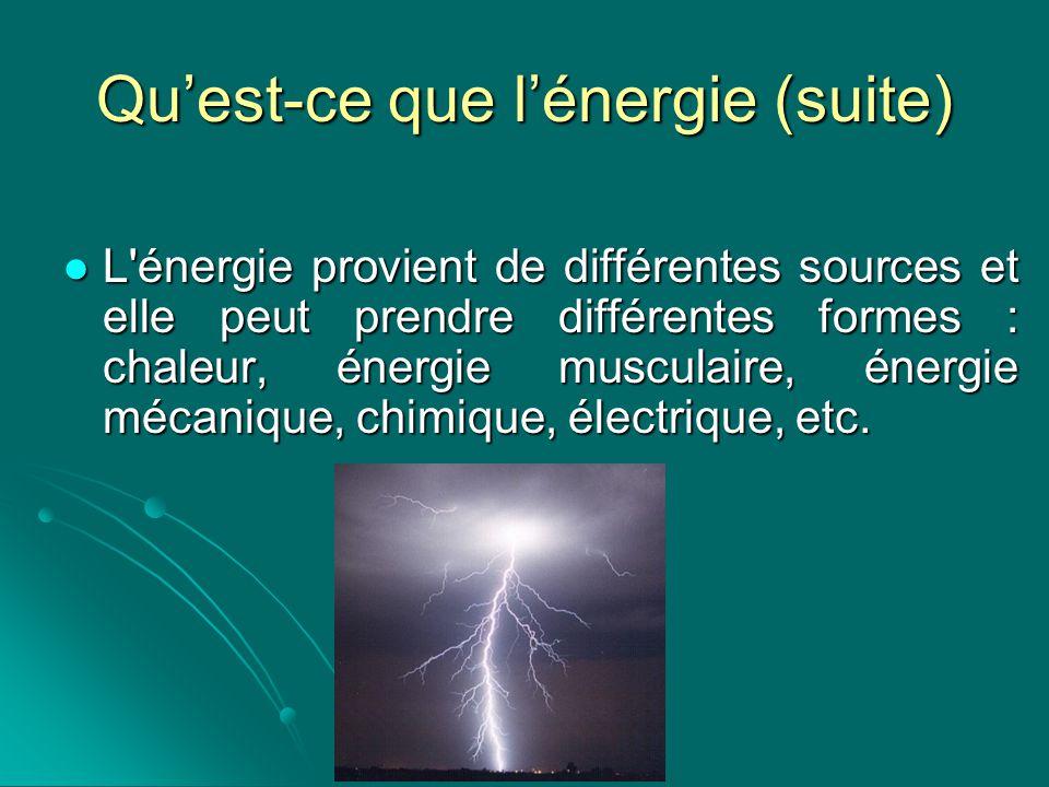 Qu'est-ce que l'énergie (suite)