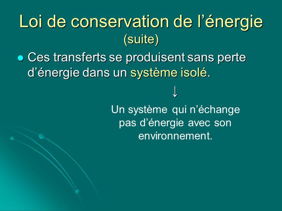 Loi de conservation de l'énergie (suite)