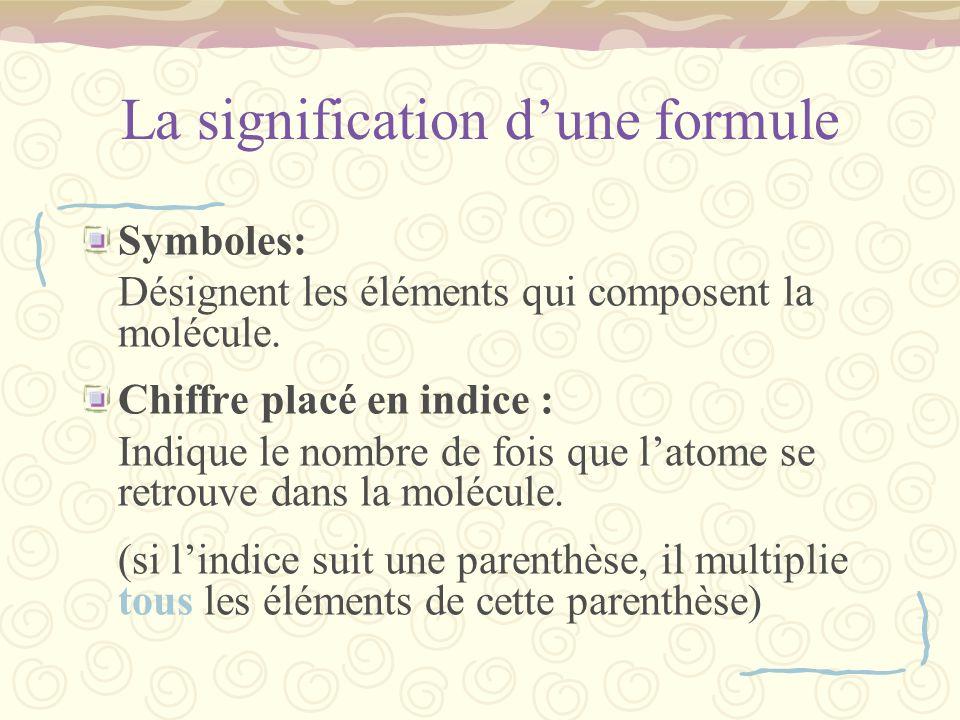 La signification d'une formule