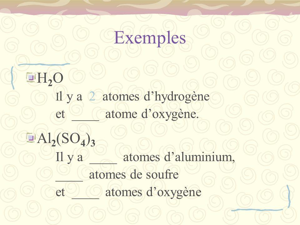 Exemples H2O Al2(SO4)3 et ____ atome d'oxygène. ____ atomes de soufre
