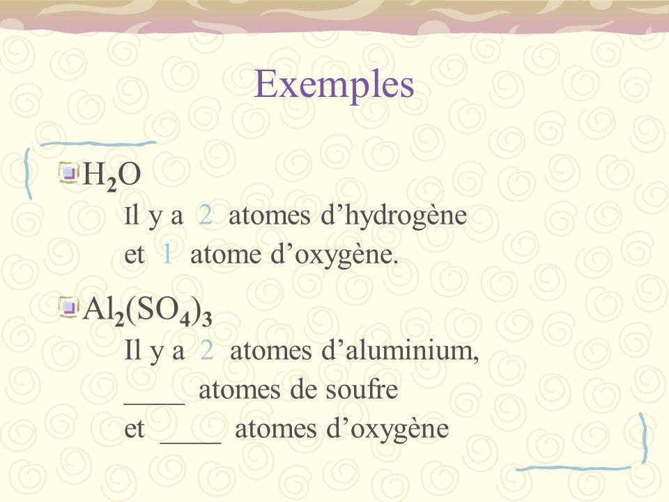 Exemples H2O Al2(SO4)3 et 1 atome d'oxygène. ____ atomes de soufre