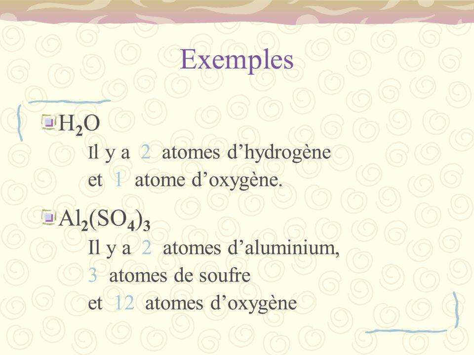 Exemples H2O Al2(SO4)3 et 1 atome d'oxygène. 3 atomes de soufre