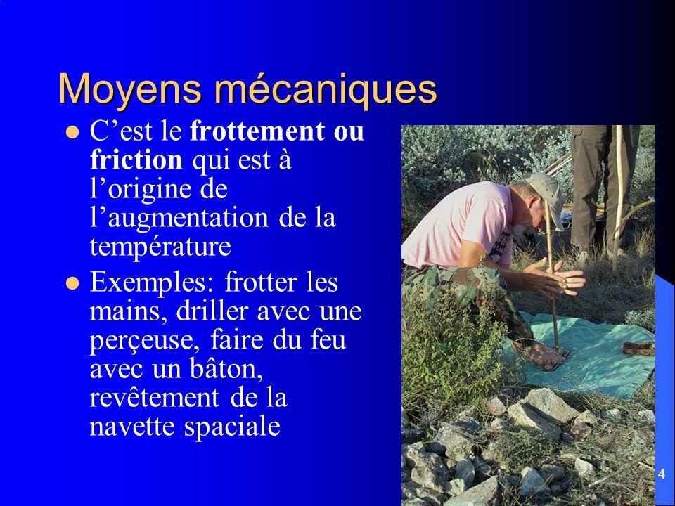 Moyens mécaniques C'est le frottement ou friction qui est à l'origine de l'augmentation de la température.