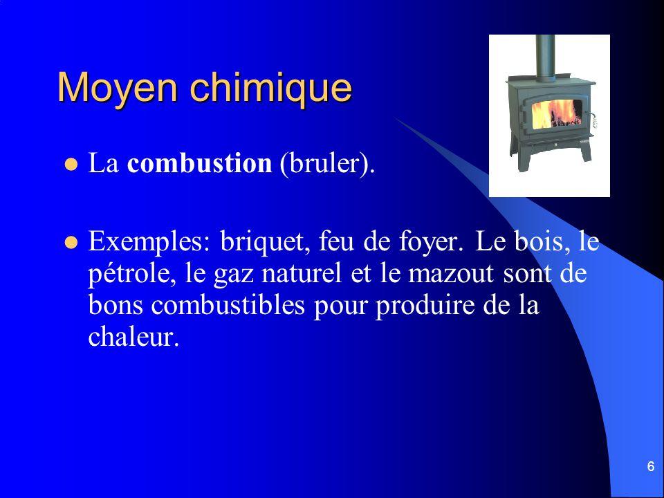 Moyen chimique La combustion (bruler).
