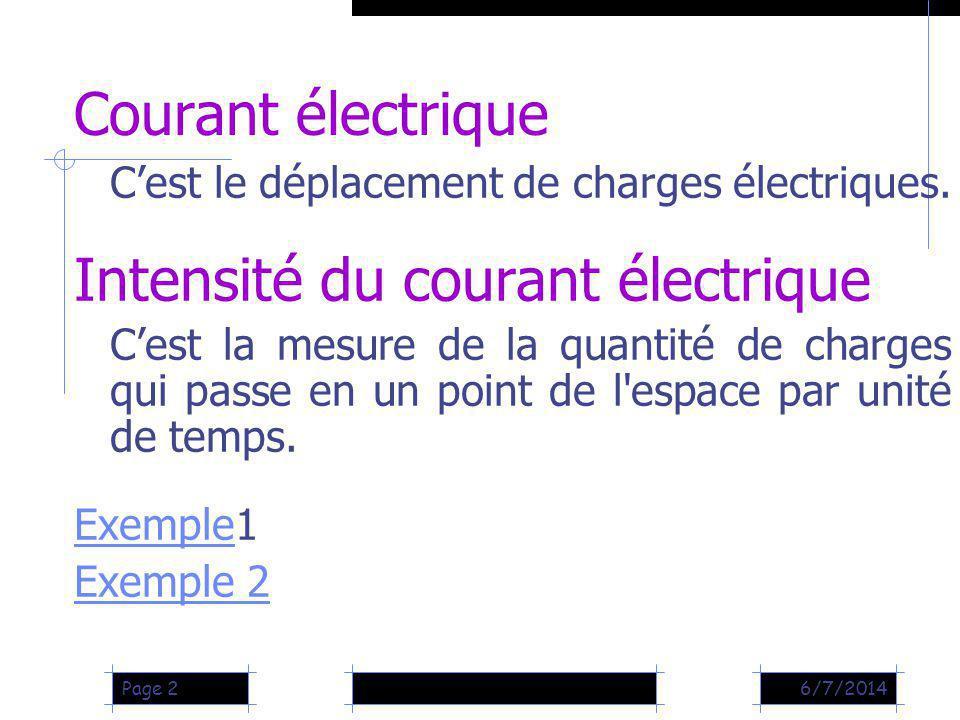 Intensité du courant électrique