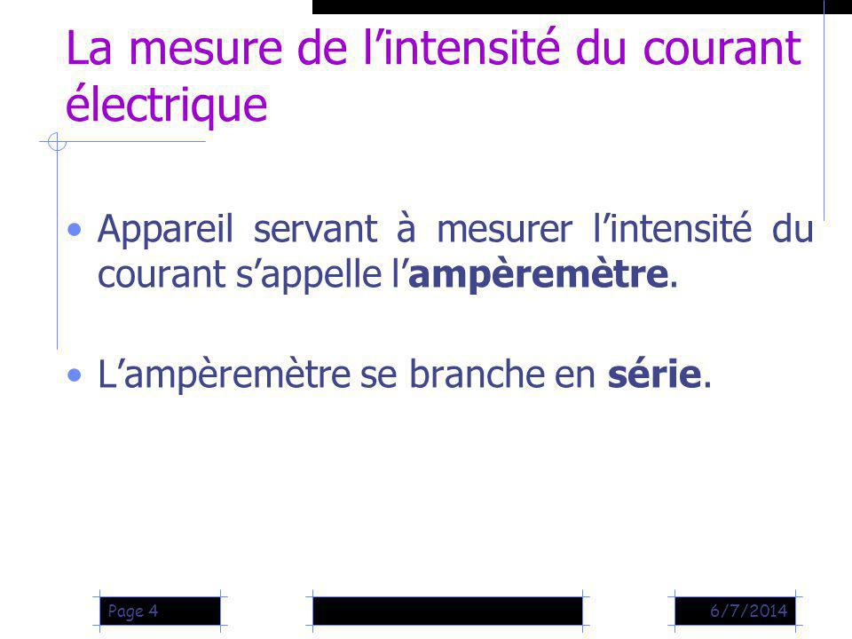 La mesure de l'intensité du courant électrique