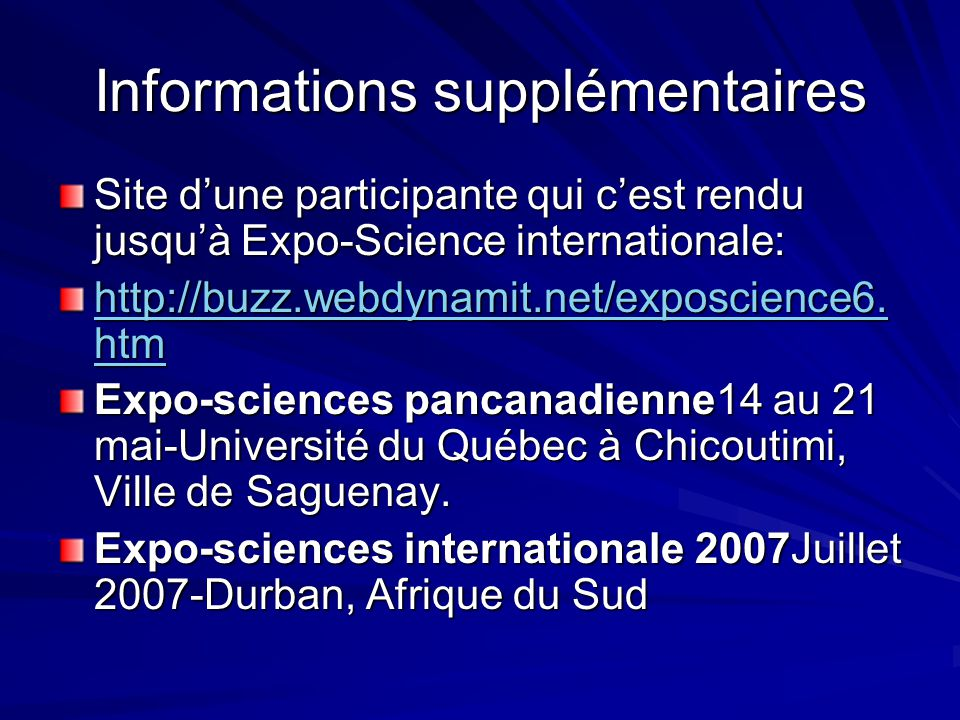 Informations supplémentaires