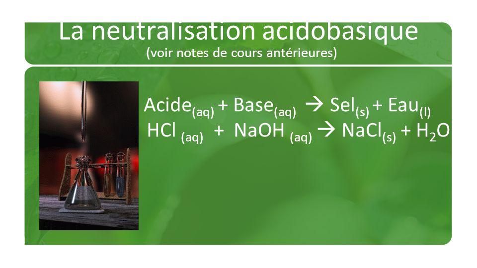 La neutralisation acidobasique (voir notes de cours antérieures)