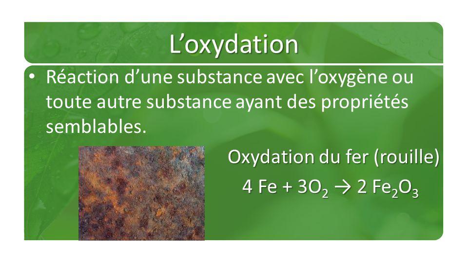L'oxydation Réaction d'une substance avec l'oxygène ou toute autre substance ayant des propriétés semblables.