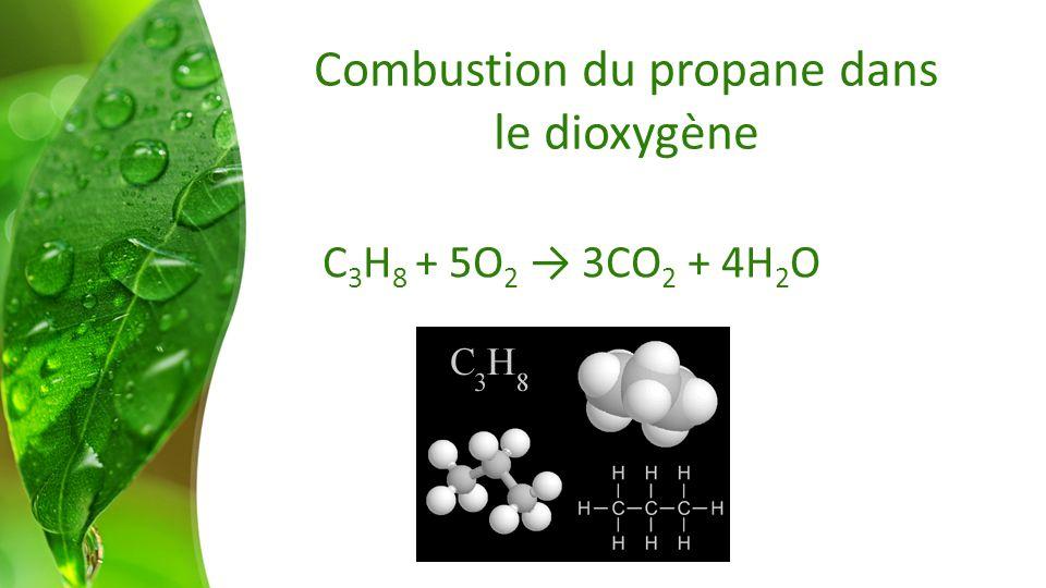 Combustion du propane dans le dioxygène