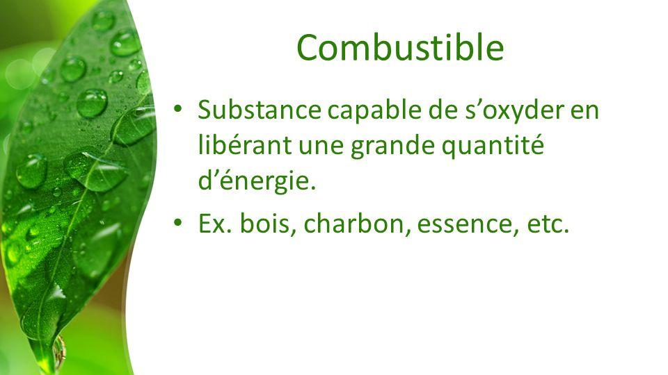 Combustible Substance capable de s'oxyder en libérant une grande quantité d'énergie.