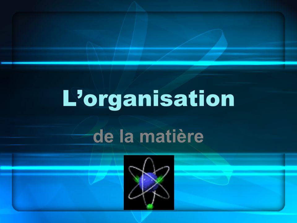 L'organisation de la matière