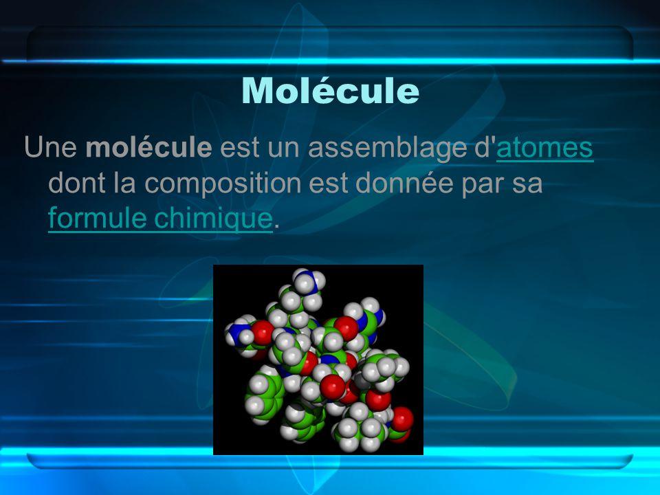 Molécule Une molécule est un assemblage d atomes dont la composition est donnée par sa formule chimique.