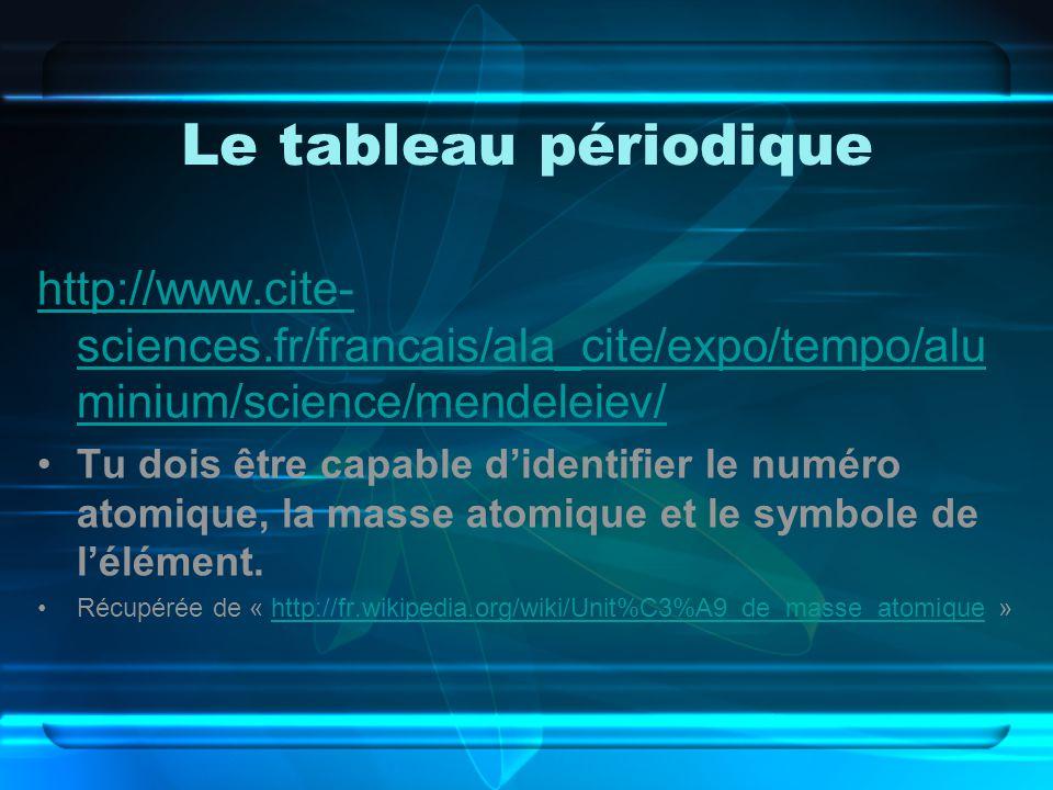 Le tableau périodique http://www.cite-sciences.fr/francais/ala_cite/expo/tempo/aluminium/science/mendeleiev/