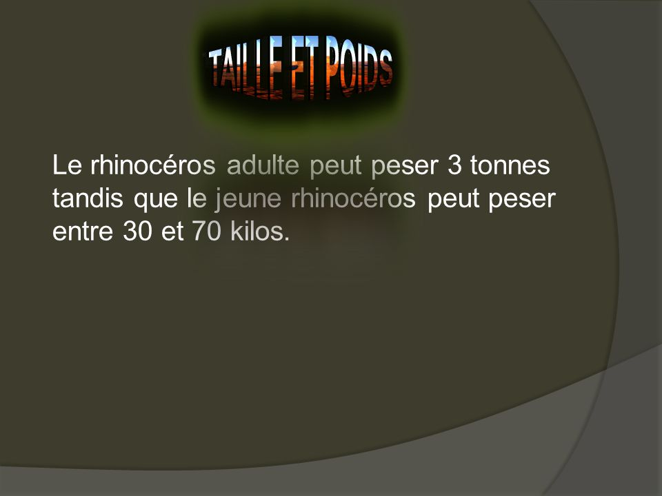 Taille et poids Le rhinocéros adulte peut peser 3 tonnes tandis que le jeune rhinocéros peut peser entre 30 et 70 kilos.
