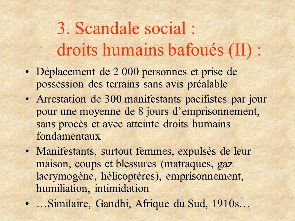 3. Scandale social : droits humains bafoués (II) :